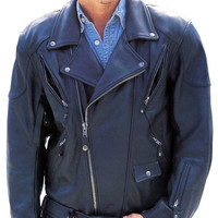 Men blue brando Biker leather jacket, pure leather jacket, mens real leather jacket,men biker leather jacket
