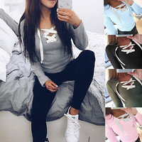 T-shirts Cross Strap Tops Women's Fashion Bottoming Shirt [9882726991]