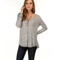 Sale-black Marled Perfection Top