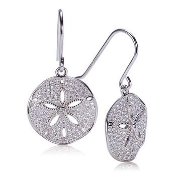 Sand Dollar Sterling Silver Hook Earring with See Through Star Fish