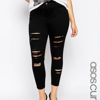 ASOS CURVE Ridley Skinny Ankle Grazer Jeans in Clean Black with Extreme Rips