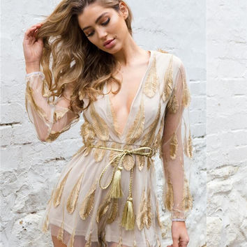 Lace Tops Sexy See Through Women's Fashion Jumpsuit [10399680461]