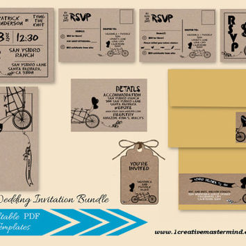DIY Wedding Invitation Bundle Template, RSVP, Details Card, Thank You, Instant Download, Digital, Kraft Tandem Bicycle for Two #1CM82-2