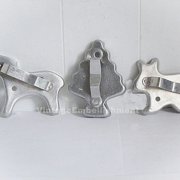 3 Vintage Cookie Cutters Horse Tree Rabbit Metal Vintage
