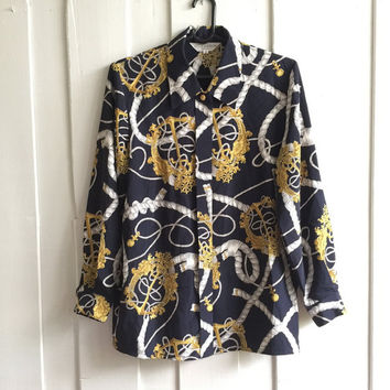 BELLE MAISON Senshukai Vintage scarf Print baroque shirt/ Over sized Shirt/disco shirt/ dark navy in background with  gold anchor graphic