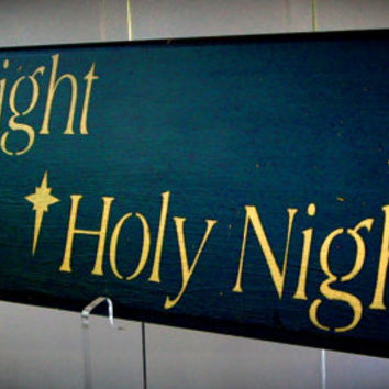 Christmas Silent Night Holy Night upcycled recycled kitchen cabinet door cij