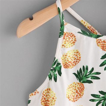 Summer Sexy Women Halter Camis Women Pineapple Print Crop Top Sexy Short Daily Spaghetti Strap Faux Suede Lattice Cami Top