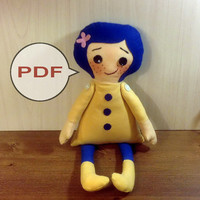 PDF doll pattern Coraline PDF Pattern tutorial doll sewing pattern PDF sewing pattern cloth doll making fabric doll patterns rag doll