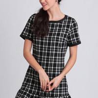 Cloda Plaid Shift Dress