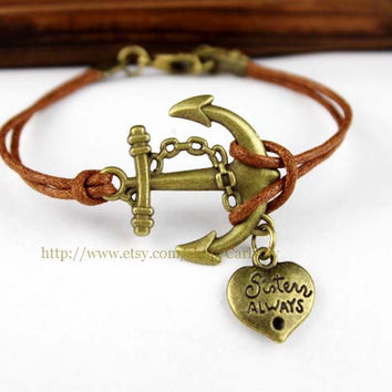Vintage anchor heart-shaped pendant bracelet - alloy bracelet - infinite wax rope personalized bracelets
