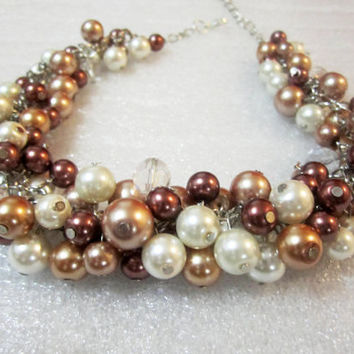 Bridesmaid Jewelry in Ivory Bronze Mocha Brown Champagne Chunky Cluster Pearl Bridesmaid Necklace Rustic Wedding Fall Wedding