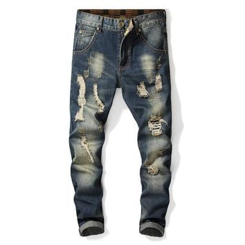 Ripped Holes Rinsed Denim Slim Men's Fashion Jeans [3444984184925]
