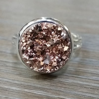 Druzy Ring- Rose gold drusy silver tone druzy ring