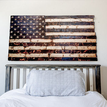 Wood flag Rustic Wood Burned American Flag with Hand Carved Stars