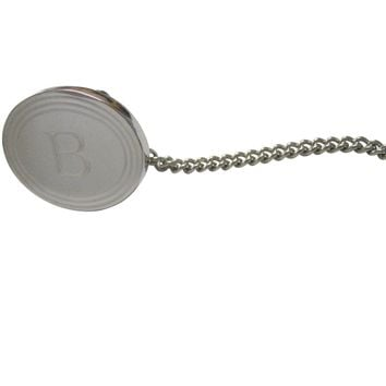 Silver Toned Etched Oval Letter B Monogram Tie Tack