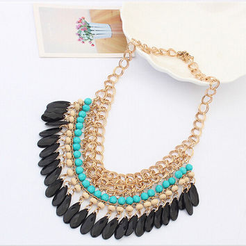 2015 Tassels Drop Vintage Gold Choker Chain Neon Bib Statement Necklaces & Pendants Fashion Jewelry For Woman