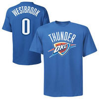 Majestic Russell Westbrook Oklahoma City Thunder Player T-Shirt - Light Blue