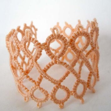 "Handcrafted Bracelet tatting ""Twists""- Handmade Bracelet - party cocktail - for Her - wedding - handmade jewerly - tatting"