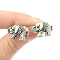 Small Elephant Shaped Animal Stud Earrings in Silver with Rhinestones from DOTOLY