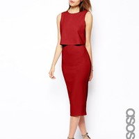 ASOS Tall | ASOS TALL Double Layer Crop Top Midi at ASOS