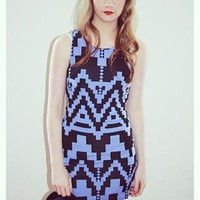 Light Blue & Black Geometric Print Bodycon Dress