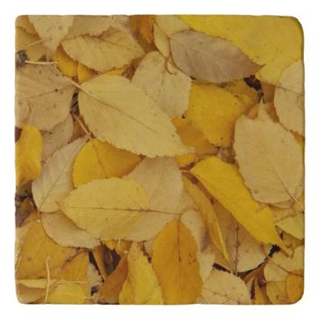 Golden Leaves Floral Photo Trivet