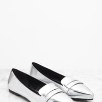 Pointed Faux Leather Loafers