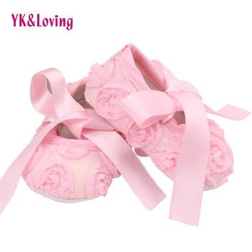 Autumn spring Newborn Shoes Photo props Girls Cotton Lace Baby Shoes Flower First Walkers Baby Girl Toddler Ballerina Slippers