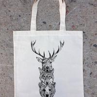 Cotton Canvas Tote Bag - Elk Wolf Bear Totem