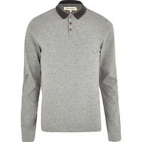 River Island MensGrey marl long sleeve polo shirt
