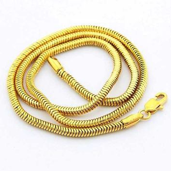 24K GP Gold Plated Necklace Mens Women Yellow Gold Golden Jewelry Necklace YHDN 52 MP