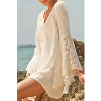 New Arrival V-neck Wrap Lace Summer Long Sleeve White Prom Dress = 4804187972
