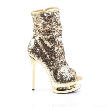 "Gold 1008 Sequin Open Toe Rhinestone Platform - 6"" High Heel Ankle Boots"