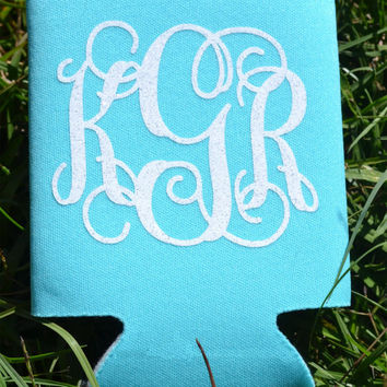 Monogram Koozie ~ Monogrammed ~ Any Color ~ Glitter