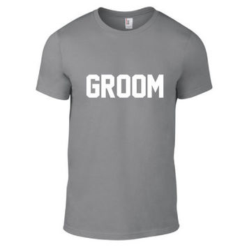 Wedding, Engagement, & Bachelor Party Clothing - Wedding Party - Groom Crew Neck - Mens