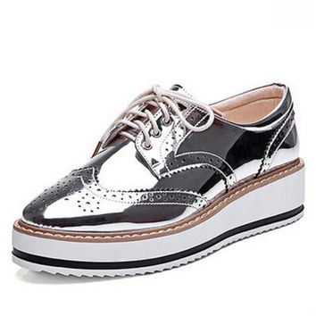 New Womens Winged Oxford Lace Up Striped Platform Metallic Silver Black Fashion Vintage Platform Bullock Flat Female Shoes 10.5