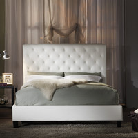 Sophie White Vinyl Tufted King-size Bed