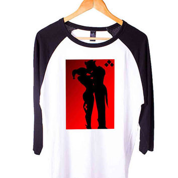 Harley Quinn And Joker Love Short Sleeve Raglan - White Red - White Blue - White Black XS, S, M, L, XL, AND 2XL*AD*
