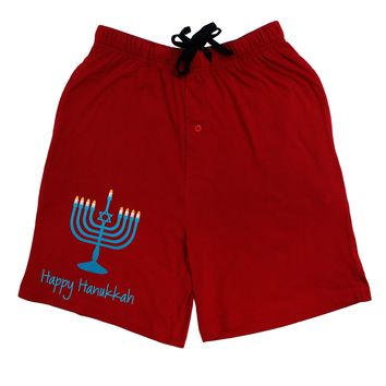 Happy Hanukkah Menorah Adult Lounge Shorts - Red or Black