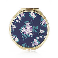 FOREVER 21 Classic Floral Mirror Compact Navy/Turquoise One