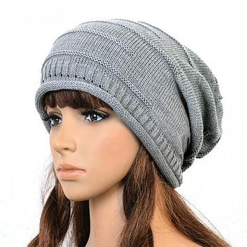 2016 Winter New Fashion Retro Unisex Women Men Oversized Cable Knitted Knit Baggy Slouch Beanie Hat Cap Black/Brown/Gray