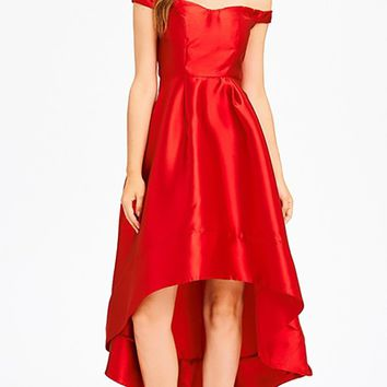 Making My Debut Red Satin Short Sleeve Off The Shoulder Sweetheart Neck High Low A Line Midi Dress
