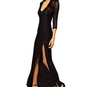 Black Long Sleeve Deep V-Neck Lace Maxi Dress with Slit