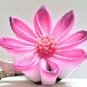 Pink and purple airbrushed kanzashi hair flower clip with purple cabochon center