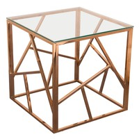 Nest Square End Table Rose Gold Finish