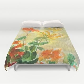 orange and yellow flowers  Duvet Cover by Color And Color