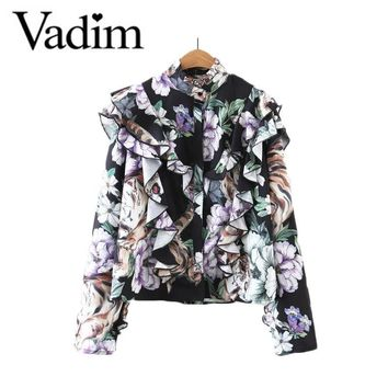 Women vintage ruffles floral shirts stand collar long sleeve loose shirts ladies streetwear casual retro tops blusas LT1782