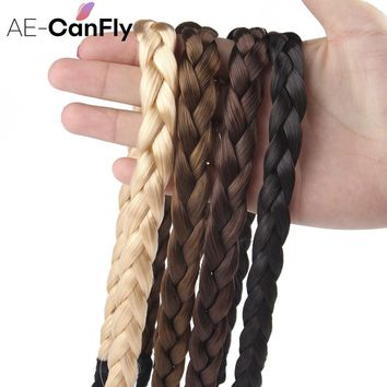 AE-CANFLY 1.5cm Retro Wig Blond Braid Headband Synthetic Hair Elastic Headband Hair Accessories 2I1015