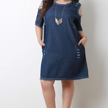 Frayed Distressed Denim Cold Shoulder Shift Dress