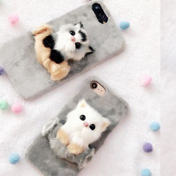 For iPhone 6 Case Winter Christmas Cute 3D Cat Cover Soft Fur Plush Hard Shell Phone Back Funda Coque For iPhone 5 5S X 10 7P 7